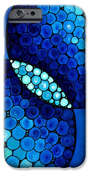 Unity Paintings iPhone Cases - Blue Unity iPhone Case by Sharon Cummings