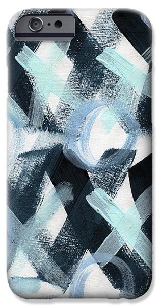 Graffiti Mixed Media iPhone Cases - Blue Valentine- Abstract Painting iPhone Case by Linda Woods