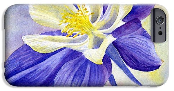 Columbine iPhone Cases - Blue Violet Columbine Blossom iPhone Case by Sharon Freeman