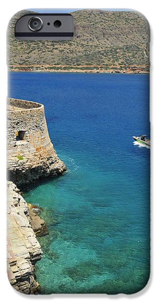 Turquois Water iPhone Cases - Blue water and boat - Spinalonga Island Crete Greece iPhone Case by Matthias Hauser