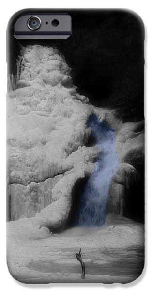 Water In Caves iPhone Cases - Blue Waterfall Frozen Landscape iPhone Case by Dan Sproul