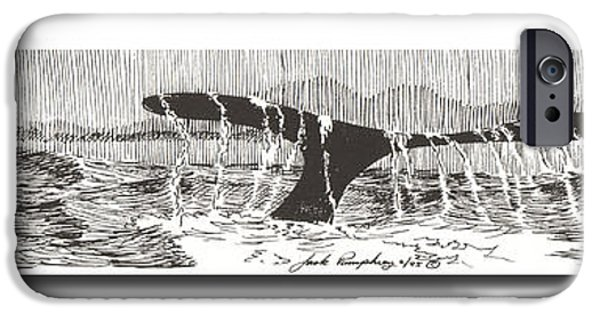 Pen And Ink iPhone Cases - Blue Whales Tail iPhone Case by Jack Pumphrey