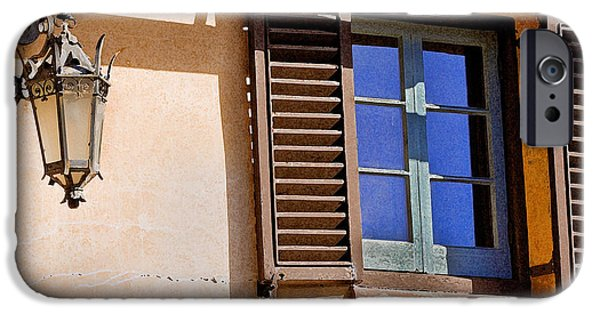 Spanish House iPhone Cases - Blue Window and Lantern 2 iPhone Case by Rich Franco