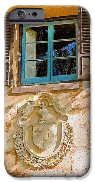 Spanish House iPhone Cases - Blue Window and Medallion DB iPhone Case by Rich Franco