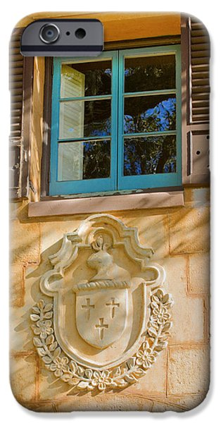 Spanish House iPhone Cases - Blue Window and Medallion iPhone Case by Rich Franco