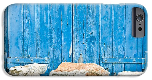 Ledge iPhone Cases - Blue window shutters iPhone Case by Tom Gowanlock