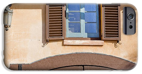 Spanish House iPhone Cases - Blue Window too DB iPhone Case by Rich Franco