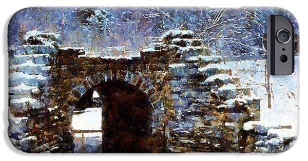 Wintertime Digital Art iPhone Cases - Blue Winter Stone Bridge iPhone Case by Janine Riley