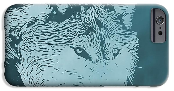 Canis Lupus Mixed Media iPhone Cases - Blue Wolf iPhone Case by Dan Sproul