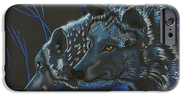 Wolf Photographs iPhone Cases - Blue Wolves iPhone Case by Mayhem Mediums