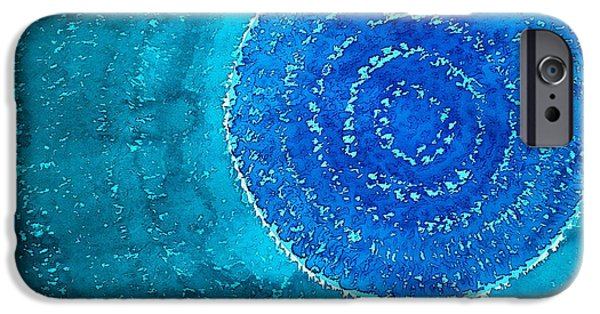 Printmaking Paintings iPhone Cases - Blue World original painting iPhone Case by Sol Luckman