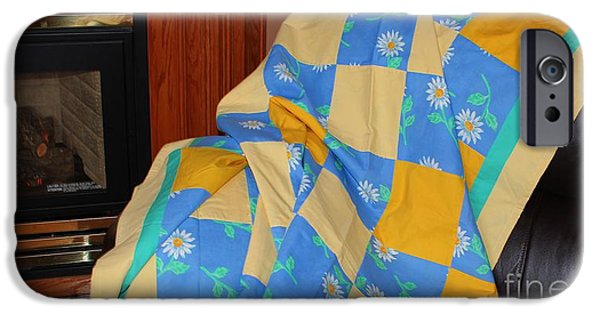 Quilt Blue Blocks iPhone Cases - Blue Yellow and Daisies Patchwork Quilt iPhone Case by Barbara Griffin