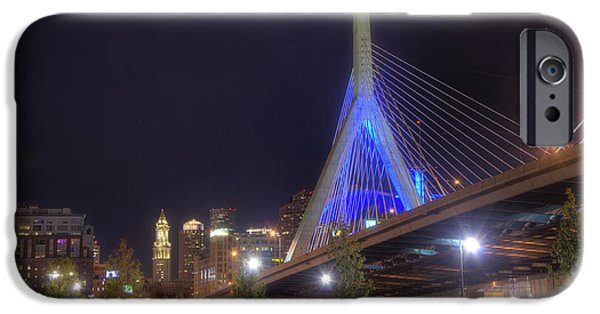 Scenic Boston iPhone Cases - Blue Zakim 2 iPhone Case by Joann Vitali