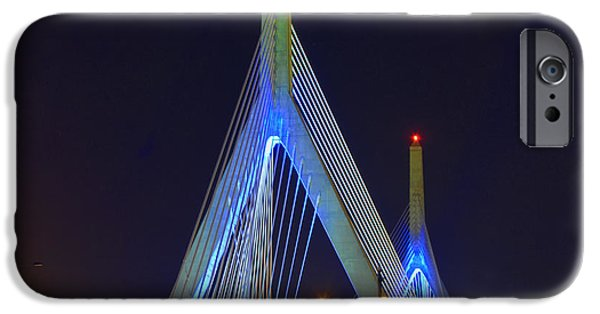 City. Boston iPhone Cases - Blue Zakim iPhone Case by Joann Vitali