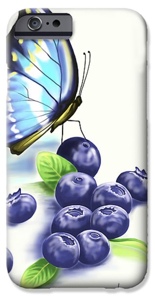 Ipad iPhone Cases - Blueberries and Butterfly iPhone Case by Veronica Minozzi
