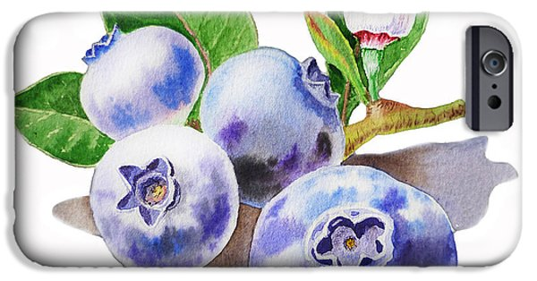 Blueberry iPhone Cases - ArtZ Vitamins The Blueberries iPhone Case by Irina Sztukowski