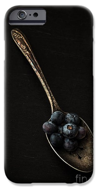Blueberries iPhone Cases - Blueberries on silver spoon iPhone Case by Edward Fielding