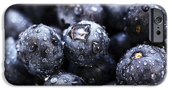 Drops Of Water iPhone Cases - Blueberry Close Up iPhone Case by John Rizzuto