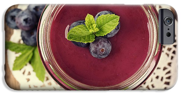 Berry iPhone Cases - Blueberry smoothie retro style photo.  iPhone Case by Jane Rix