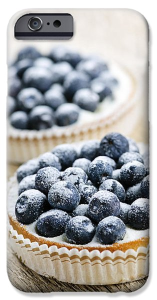Deli iPhone Cases - Blueberry tarts iPhone Case by Elena Elisseeva