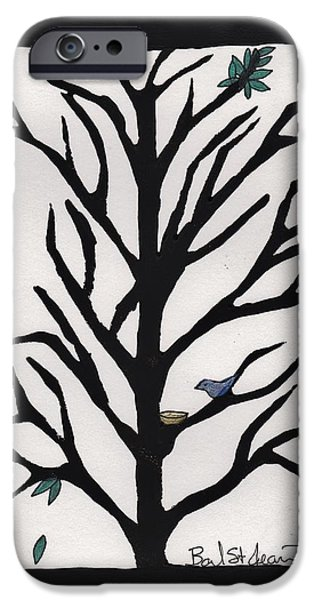 Lino Drawings iPhone Cases - Bluebird in a Pear Tree iPhone Case by Barbara St Jean