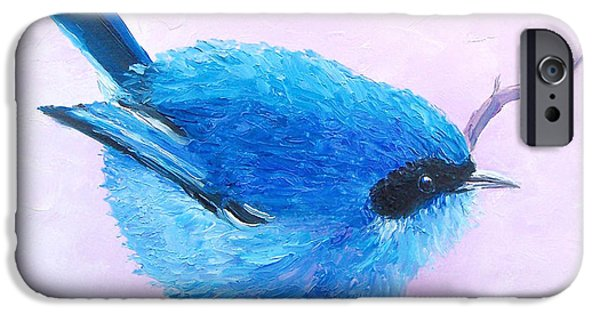 Baby Bird Paintings iPhone Cases - Bluebird iPhone Case by Jan Matson