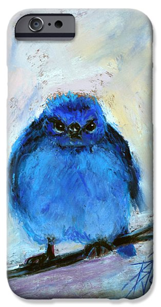 Blue Pastels iPhone Cases - Bluebird of Unhappiness iPhone Case by Billie Colson
