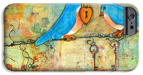 Couple iPhone Cases - Bluebird Painting - Art Key to My Heart iPhone Case by Blenda Studio