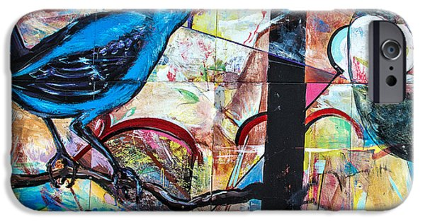Mural Mixed Media iPhone Cases - Bluebird Signs iPhone Case by Terry Rowe