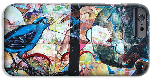 Mural Mixed Media iPhone Cases - Bluebird Sings iPhone Case by Terry Rowe