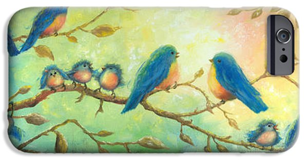 Baby Bird iPhone Cases - Bluebirds on Branches iPhone Case by Vickie Wade
