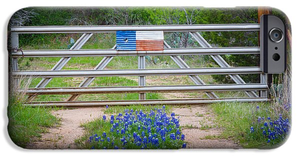 Pathway iPhone Cases - Bluebonnet Gate iPhone Case by Inge Johnsson
