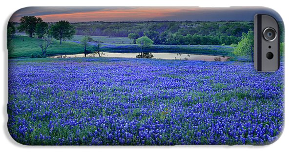 Floral Art iPhone Cases - Bluebonnet Lake Vista Texas Sunset - Wildflowers landscape flowers pond iPhone Case by Jon Holiday