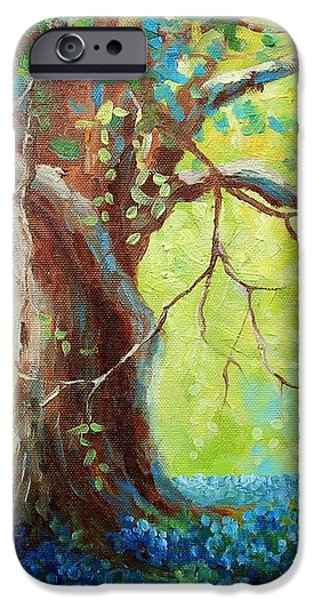 Bluebonnets Under The Oak iPhone Case by David G Paul