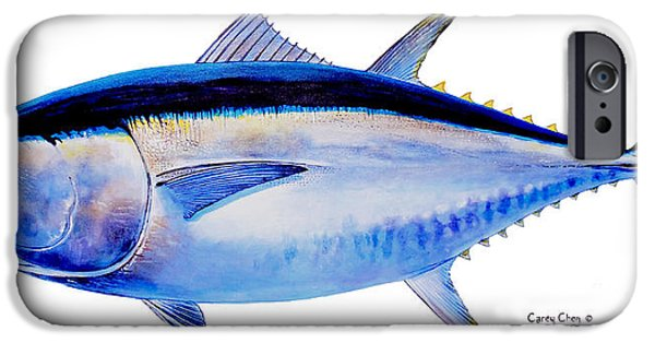 Nature Study Paintings iPhone Cases - Bluefin tuna iPhone Case by Carey Chen