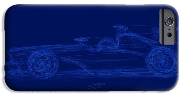 Circuit iPhone Cases - Blueprint for Speed iPhone Case by Stacy C Bottoms
