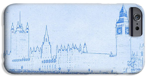 Buildings Mixed Media iPhone Cases - BluePrint London iPhone Case by Adam Asar