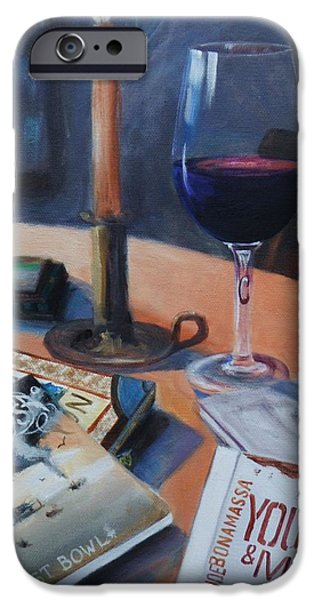 Red Wine iPhone Cases - Blues and Wine iPhone Case by Donna Tuten