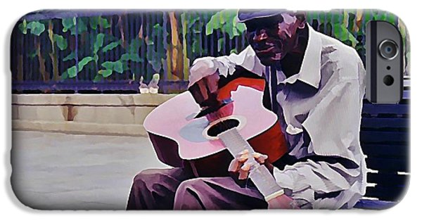 Halifax Art Work iPhone Cases - Blues Guitar Player in New Orleans iPhone Case by John Malone