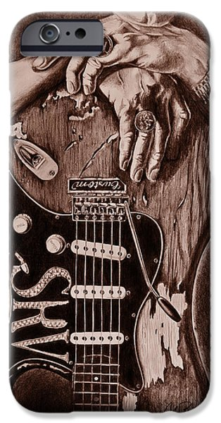 Musican Drawings iPhone Cases - Blues Legend iPhone Case by Art Imago