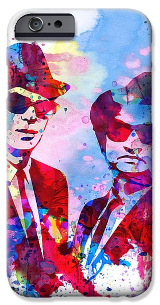 Film Paintings iPhone Cases - Blues Watercolor iPhone Case by Naxart Studio