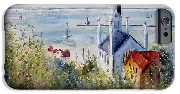 Chicago Paintings iPhone Cases - Bluff View St. Annes Mackinac Island iPhone Case by Sandra Strohschein