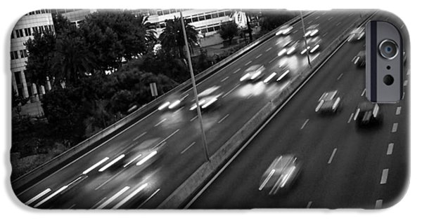 Asphalt iPhone Cases - Blurred Cars iPhone Case by Carlos Caetano