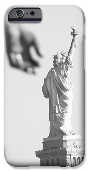 American Pride Pyrography iPhone Cases - Blurred Hand iPhone Case by Habib Ayat