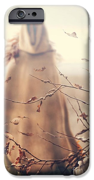 Outside iPhone Cases - Blurred image of a woman with cape iPhone Case by Sandra Cunningham