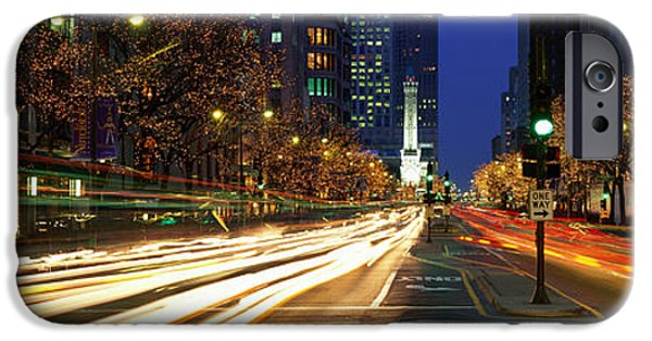 Old Chicago Water Tower iPhone Cases - Blurred Motion, Cars, Michigan Avenue iPhone Case by Panoramic Images