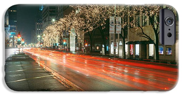 Old Chicago Water Tower iPhone Cases - Blurred Motion Of Cars Along Michigan iPhone Case by Panoramic Images