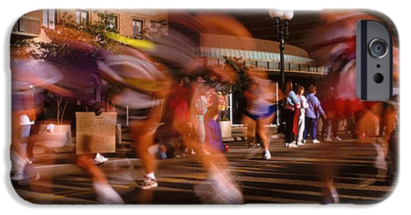 Racing iPhone Cases - Blurred Motion Of Marathon Runners iPhone Case by Panoramic Images