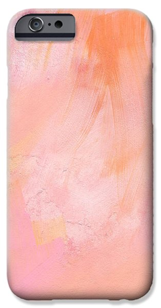 Texture iPhone Cases - Blush- abstract painting in pinks iPhone Case by Linda Woods