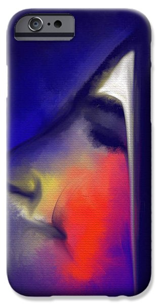 Visage Bleu iPhone Cases - Blushing iPhone Case by Franck Giraud